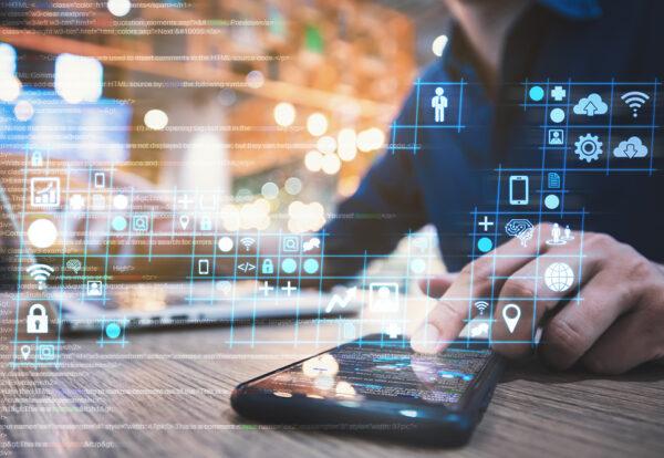 businessman working on digital diagram for program improvement, software developer work on digital improvement concept